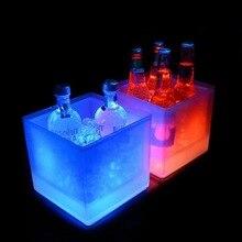 Горячая Распродажа стиль двойной слой прозрачный пластик светодиодный квадратное ведро льда, прямого силуэта; цвета красный, винный бокал для шампанского светодиодный ведерко со льдом