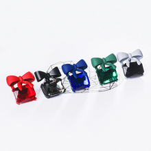 Women's Cute Stud Earrings with Colorful Bow and Crystals