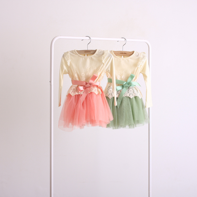 2013 new arrival 3378  children lace yarn long sleeve dresses princess dress spring autumn green pink 4pcs/lot