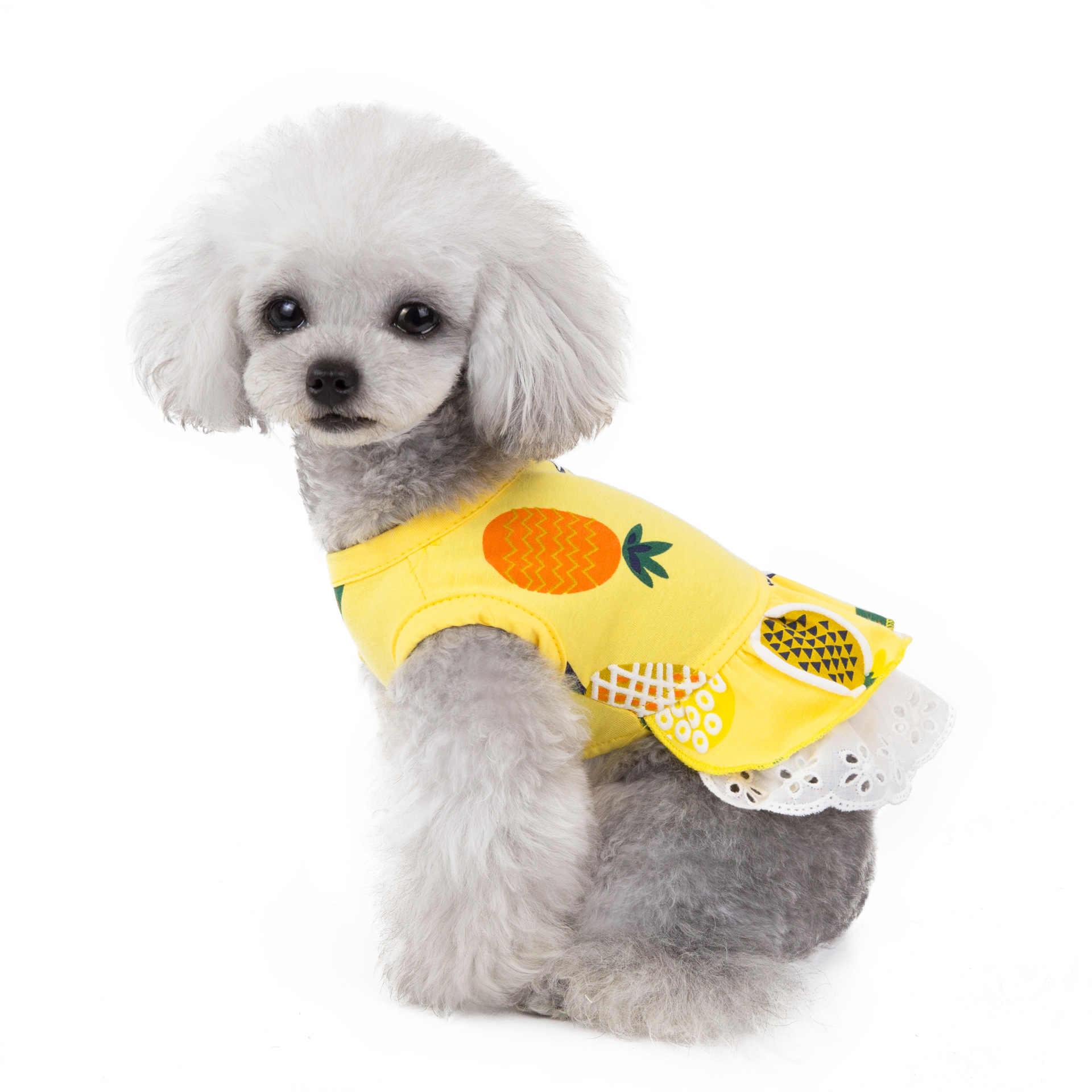 Одежда для собак пляжное летнее платье для собак Одежда для маленьких собак дышащее платье с фруктовым принтом юбка жилет для животных Чихуахуа Йорк