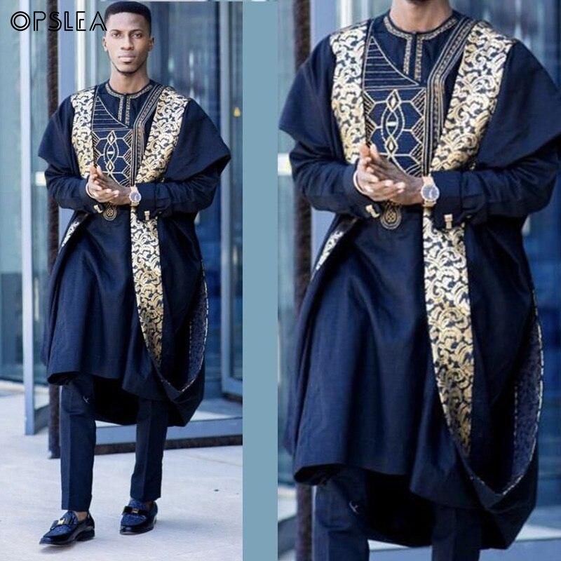 Opslea Agbada African Men Printed Plus Size Shirt Dashiki Bazin Riche Suits Tops Pants 3 PCS Sets Slim Fit Formal Attire Clothes