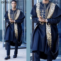 Opslea Agbada African Men Printed Plus Size Shirt Dashiki Bazin Riche Suits Tops Pants 3 PCS Sets Slim Fit Formal Attire Clothes