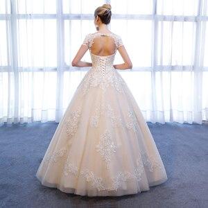 Image 2 - SL 307 Charming A linie Kurzarm brautkleider Spitze Appliques Strand Vintage SuLi Hochzeit Kleid frau hochzeit kleider für braut