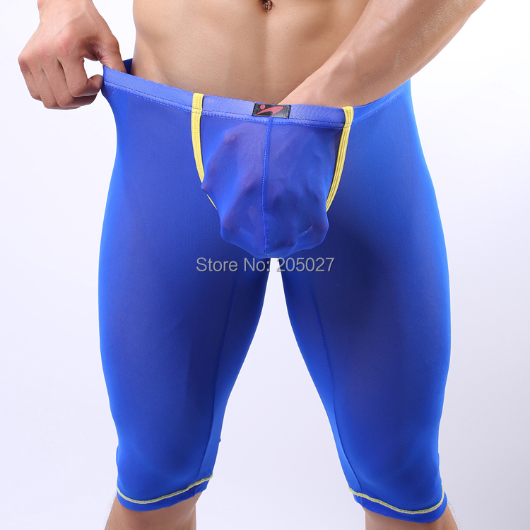 New Fashion Transparent Sexy Underwears Men Middle Long Underwear For Men Underpants Men's Shorts Undershirts FreeShipping