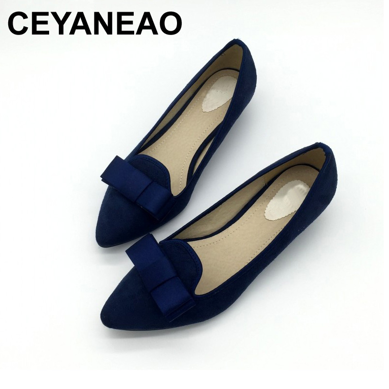 CEYANEAO Sexy Blue Pointed Toe Women Pumps Shoes Flock Bowtie Woman Low Heel Shoes Ladies Casual Single Shoes Plus Size xiaying smile woman sandals shoes women pumps spring summer pointed toe sexy fashion casual thin heel cover heel flock shoes