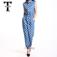 T Inside 2016 Women Jumpsuit Cotton Sleeveless High Waist Playsuit Womens Clothing Overalls Casual Blue Romper