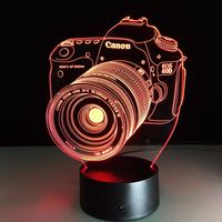 3D Visual USB LED Camera Shape Night Light Touch Switch 7 Color Changing Table Desk Lamp