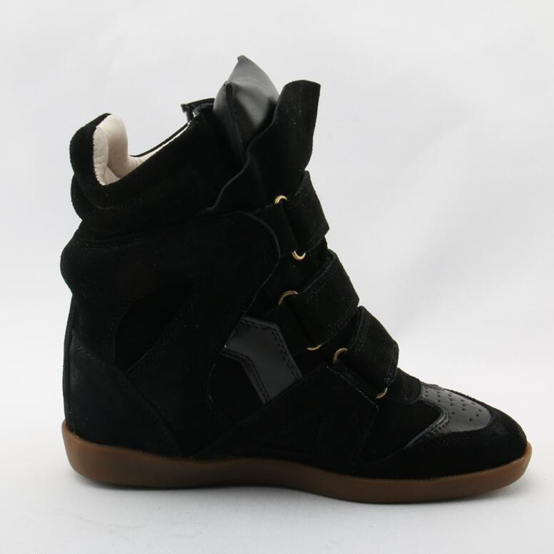 Chaussures femme autumn winter genuine leather plush ankle boots for woman height increasing high top cowboy boots buckle botas in Ankle Boots from Shoes