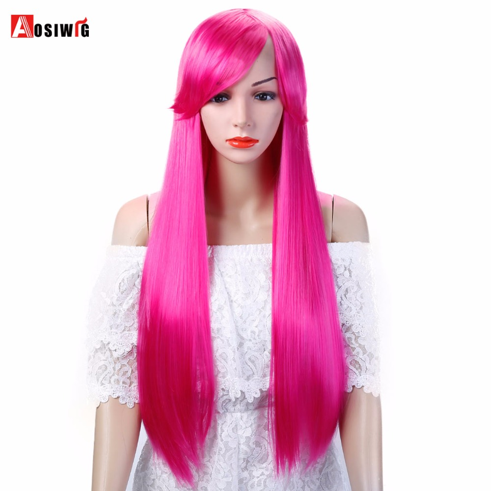 AOSIWIG Long Straight Cosplay Wig Red Green Puprle Pink Black Blue Sliver Gray Blonde Brown 75 Cm Synthetic Hair Wigs