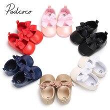 Новые брендовые Детские кроссовки для новорожденных, детские кроссовки для девочек с бантиком, нескользящая обувь с бантиком, вечерние туфли из искусственной кожи на мягкой подошве для малышей 0-18 месяцев