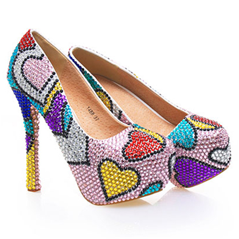Pumps Women Wedding Crystal Shoes Patchwork Hearts Bridal High Heels Colorful Evening Party Shoes Sexy Ladies Pumps Plus Size 43 холодильник beko rcnk321k00w