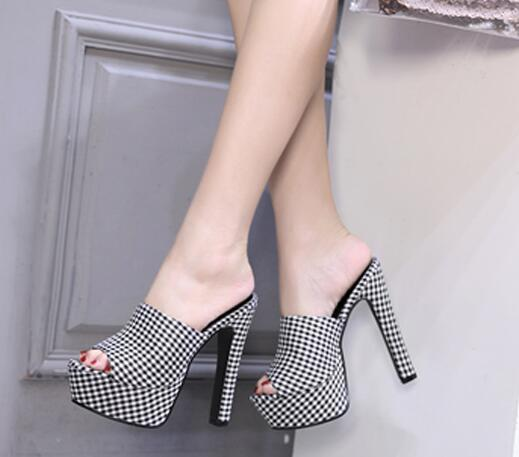 Summer Shoes Woman Footwear Peep Toe Chunky Heel Women PU Plaid Sandals Mules Female Casual Comfortable Thick Heels Slippers4619