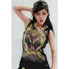 High Quality 2016 New Brand European Women Tiger Head 3D Print T Shirt Cotton Sleeveless T