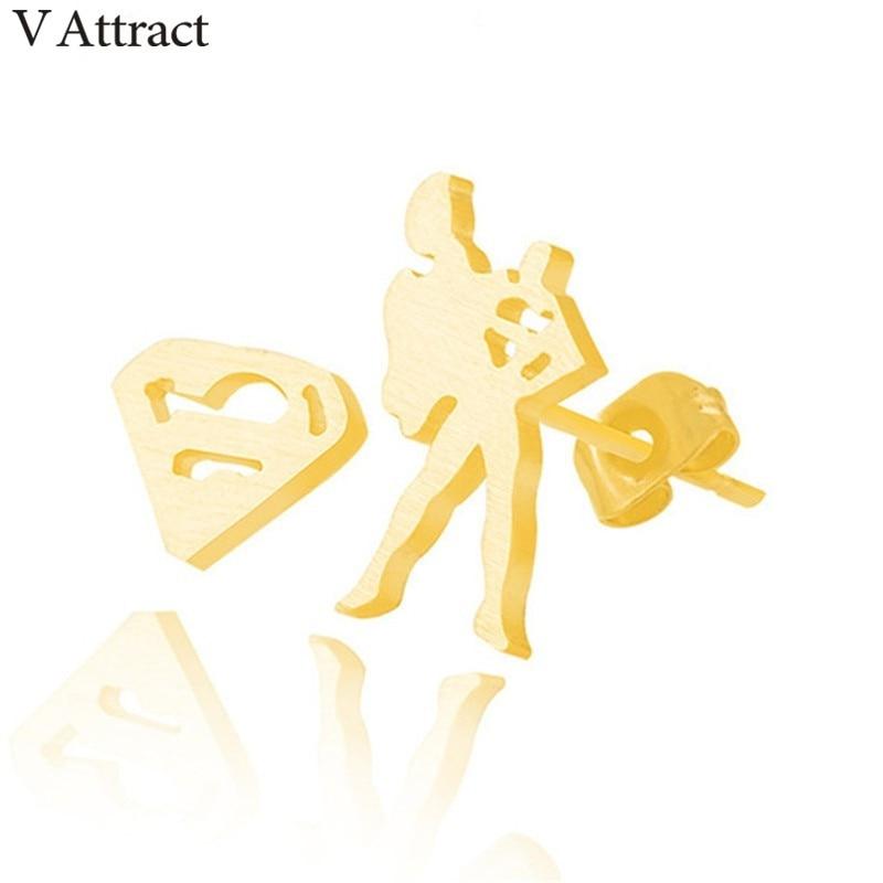V Attract Individuality Superhero Jewelry Korean Fashion Superman Stud Earrings Stainless Steel Women Men Gold Silver Brincos
