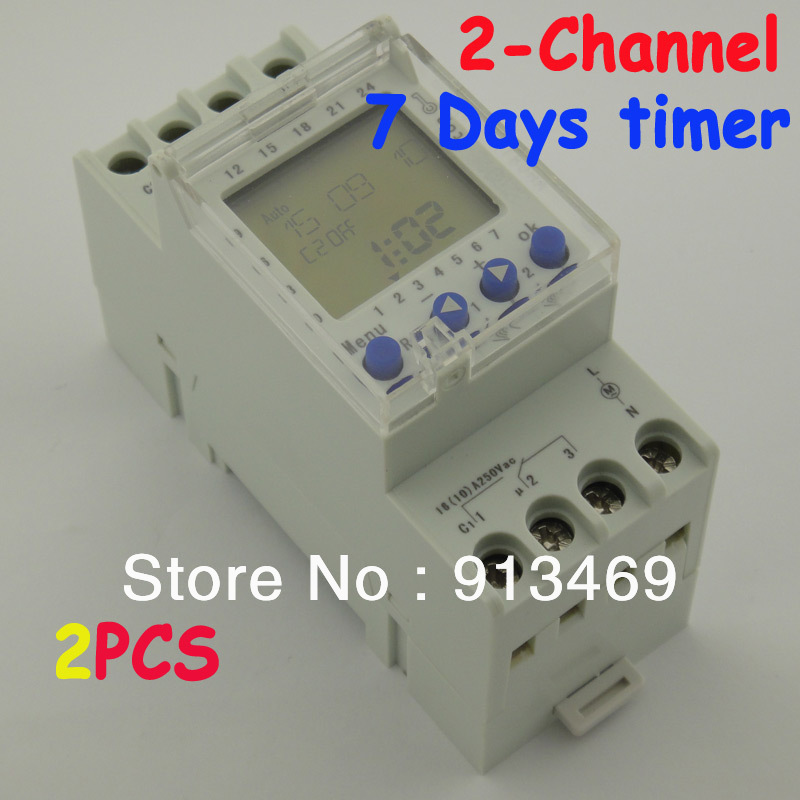 2 Channel 7 Days Programmable Digital Time Switch 220V Time Relay Control DIN Rail Mount 2 channel 7 days programmable digital time switch 220v timer relay control din rail mount free shipping