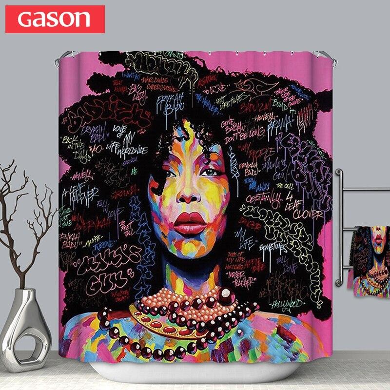 GASON Salle De Bains rideau de Haute Qualité Nature Étanche Polyester 2 m Tissu fille Femme Africaine Simple rideau De Douche L'UE Portrait