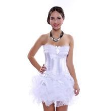 Carnaval Party Sexy Lingerie Satijn Corset en Bustier Mini Tutu Petticoat Rok Fancy Trouwjurk Kostuum S 6XL