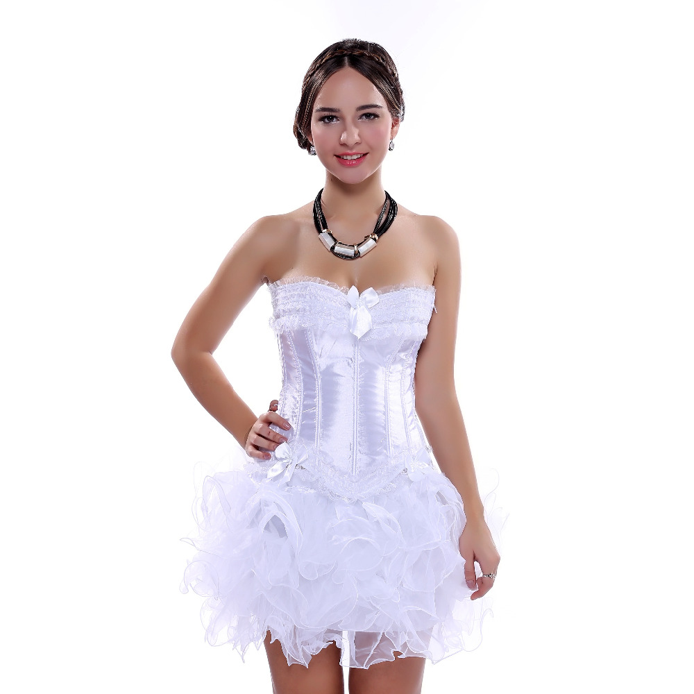 Carnival Party <font><b>Sexy</b></font> Satin Lingerie Corset and Bustier Mini Tutu Petticoat Skirt Fancy Wedding Dress <font><b>Costume</b></font> S-<font><b>6XL</b></font> image