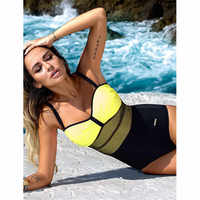 One Piece Swimsuit Women Mesh Swimwear Patchwork Beach 3