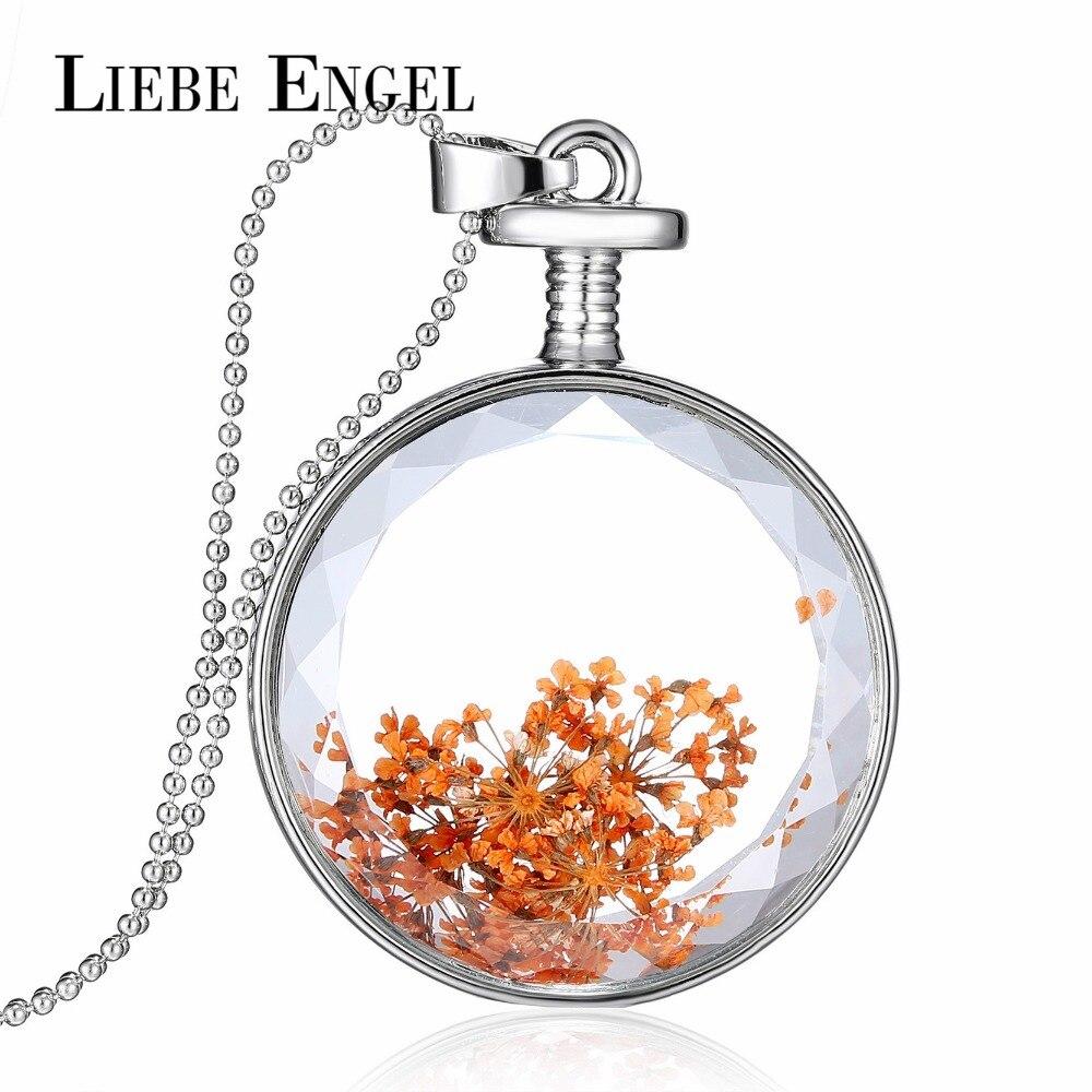 a70c7aae17e5 Liebe Engel moda flores secas declaración cadena collar vintage color plata joyería  mujeres regalo cristal collares joyería Maxi