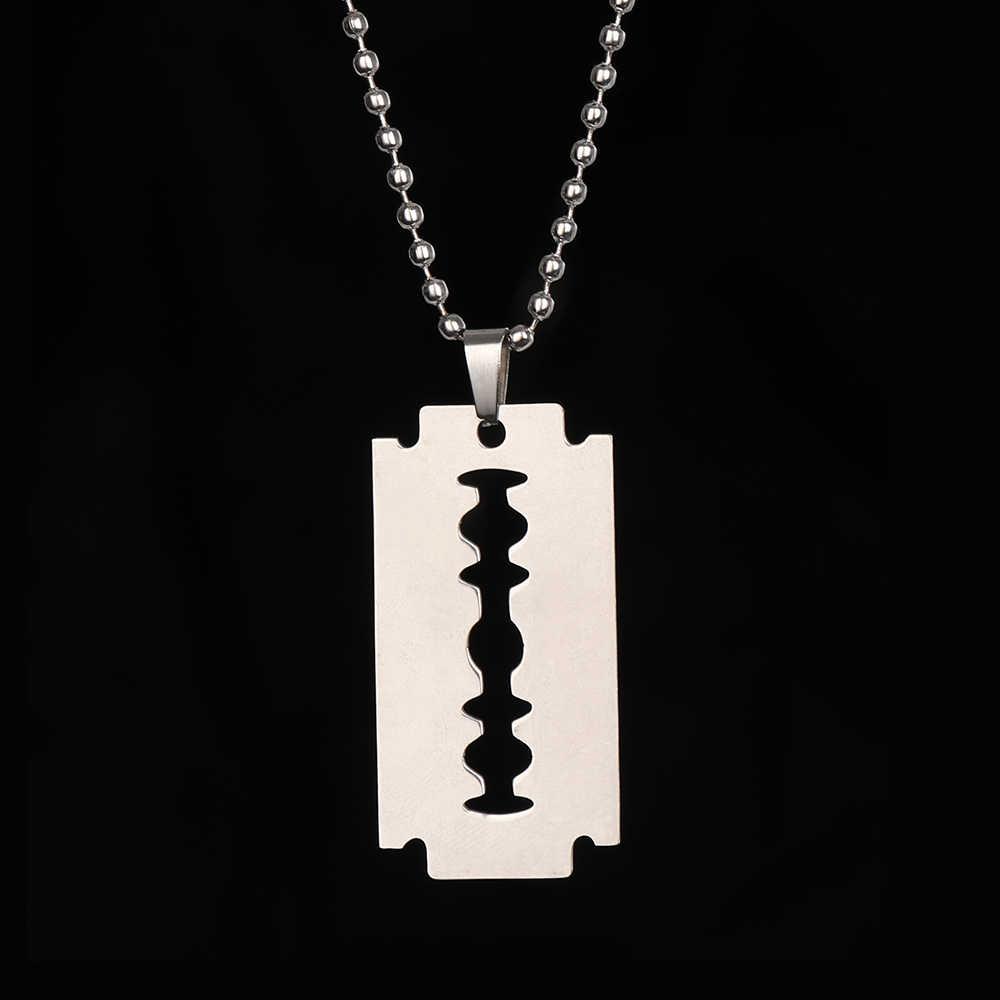 Mode Kühlen Edelstahl Rasierklingen Anhänger Halsketten Männer Schmuck Kühlen Stahl Männlichen Rasierer Form Hip Hop Halskette Für Männer