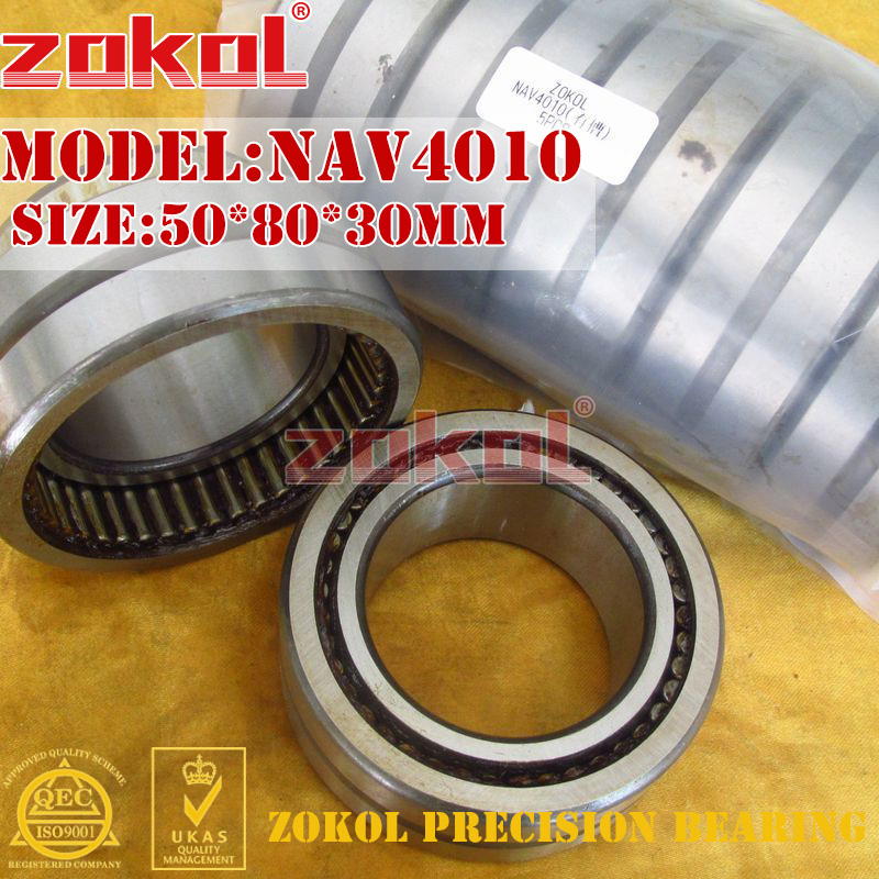 ZOKOL bearing NAV4010 slotted Full bore needle roller bearing with inner ring 50*80*30mm na4910 heavy duty needle roller bearing entity needle bearing with inner ring 4524910 size 50 72 22