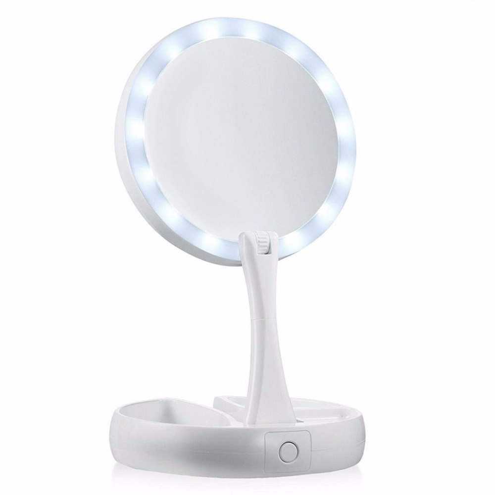 Portable Round Foldable LED Makeup Mirror Women Facial Make Up Mirror Table Desktop Cosmetic Mirrors Tools