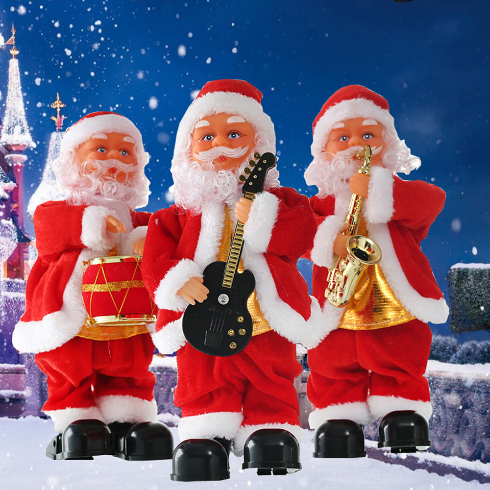 Christmas Electric Santa Claus Singing Dancing Santa Claus Doll Toy New Year Gift for Children Toy Christmas Decoration for Home christmas santa claus snowflake vintage plus size dress