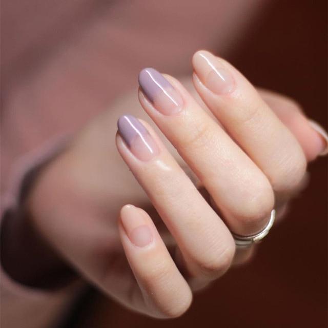 New 24pcs/set Purple Gray+Bare Powder French False Nails Fake nails ...