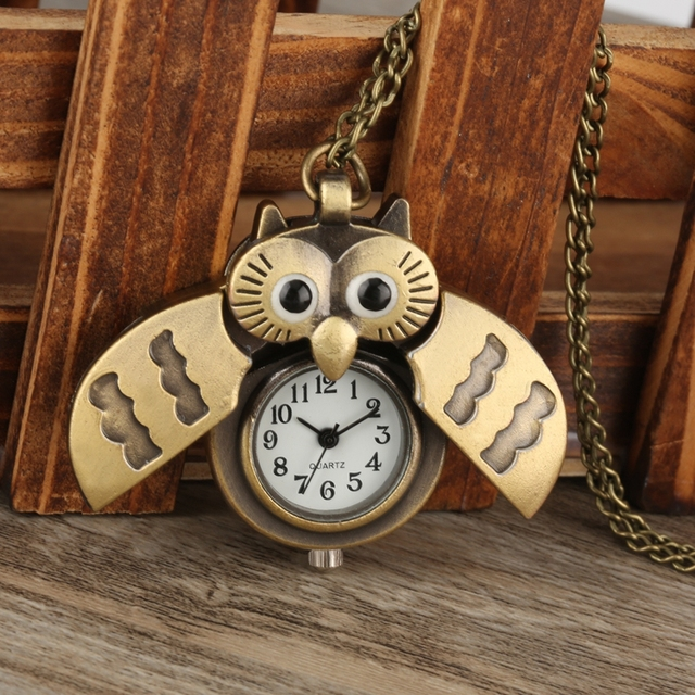 Lovely Owl Cute Bronze Quartz Pocket Watch with Necklace Chain Gift for Kids Boy
