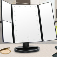 Folding Touch Screen Makeup Table Light Led Vanity Mirror with 1X/2X/3X Desktop Magnifying for Make Up Lamps