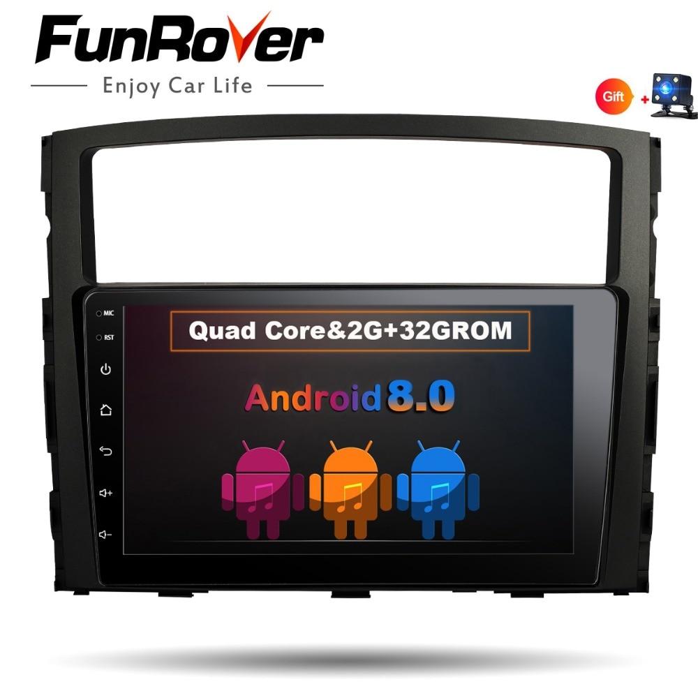 Funrover 2 din 9 voiture radio magnétophone dvd Pour MITSUBISHI PAJERO V97 V93 Android 8.0 Multimédia Vidéo GPS navigation usb wifi