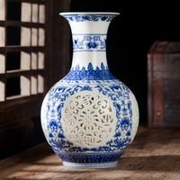Jingdezhen ceramics porcelain hollow eggshell small vase table decoration decoration room desktop