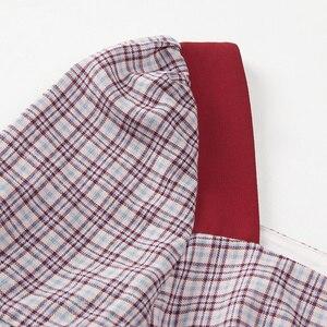 Image 5 - Yigelila 2019 mais recente feminino babados vestido moda quadrado pescoço alargamento manga na altura do joelho xadrez retalhos vestido de impressão 62769