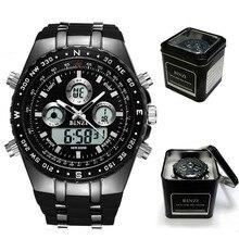 New Digital Watch Men Sport Black Watch Quartz Military Mens Watches Stainless Stell Back Light Relogio Masculino Digital BINZI