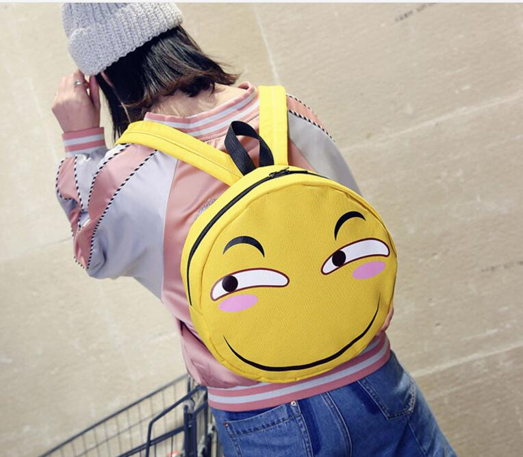 Fashion Canvas Backpack Smiling Face Printing Backpack School Bags For Teenager Girls Shoulder Bags Smiley Round Bag