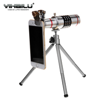 Universal 18X Optical Zoom Mobile Telescope Smartphone Telephoto Camera Metal Lens With Tripod For iPhone 7 Samsung S8 Plus Sony