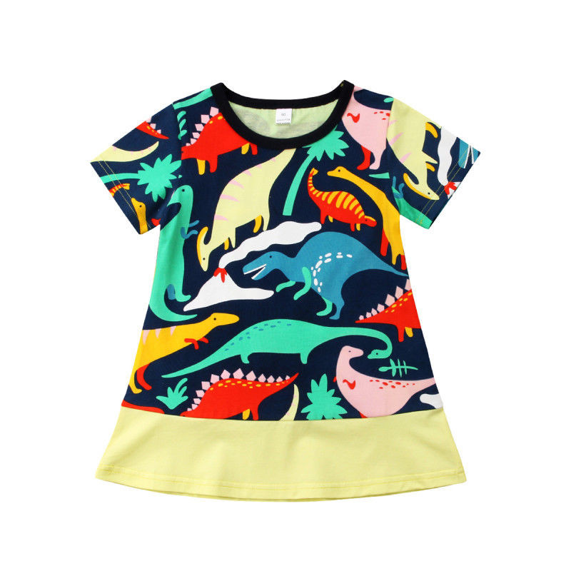 2018 New Summer Kids Baby Girls Short Sleeve Colored Dinosaur Dress Child Girls Holiday Beach Party Pageant Dress Casual Clothes We Take Customers As Our Gods