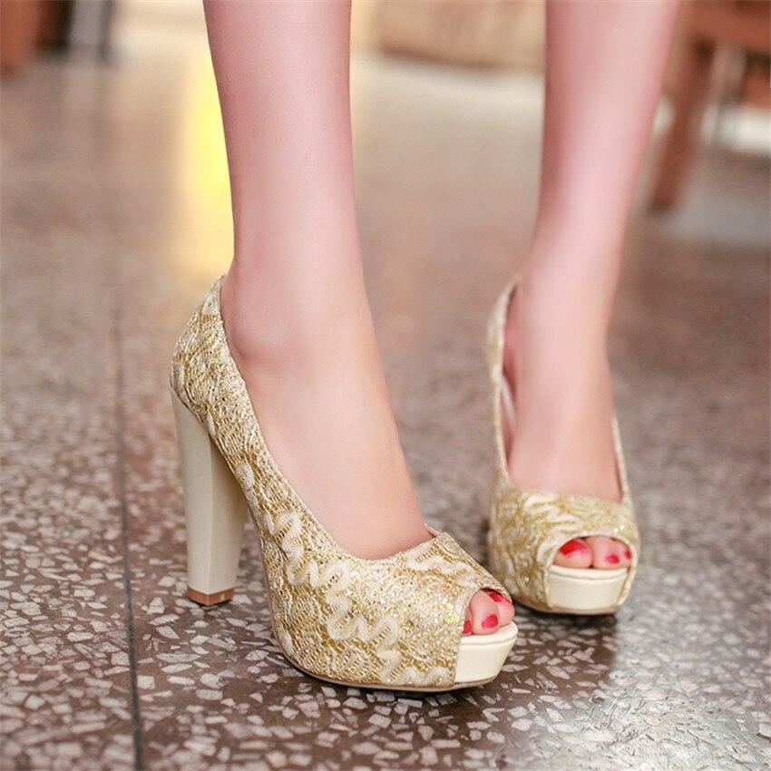 Summer Pumps Women Peep Toe High Heels Party Wedding Platform Gladiator Shoes Woman High Heel Shoes Plus Size 34 - 40 41 42 43