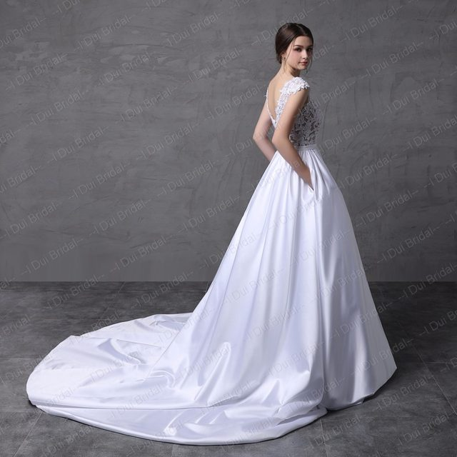 Online Shop Lebanon Design Short Cap Sleeve Lace Satin Wedding ...