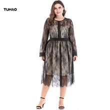 TUHAO plus size 5XL 4XL 3XL Womens Summer Lace Dress 2018 Vintage Sexy Rockabilly Vestidos female Party Black Dresses CM56