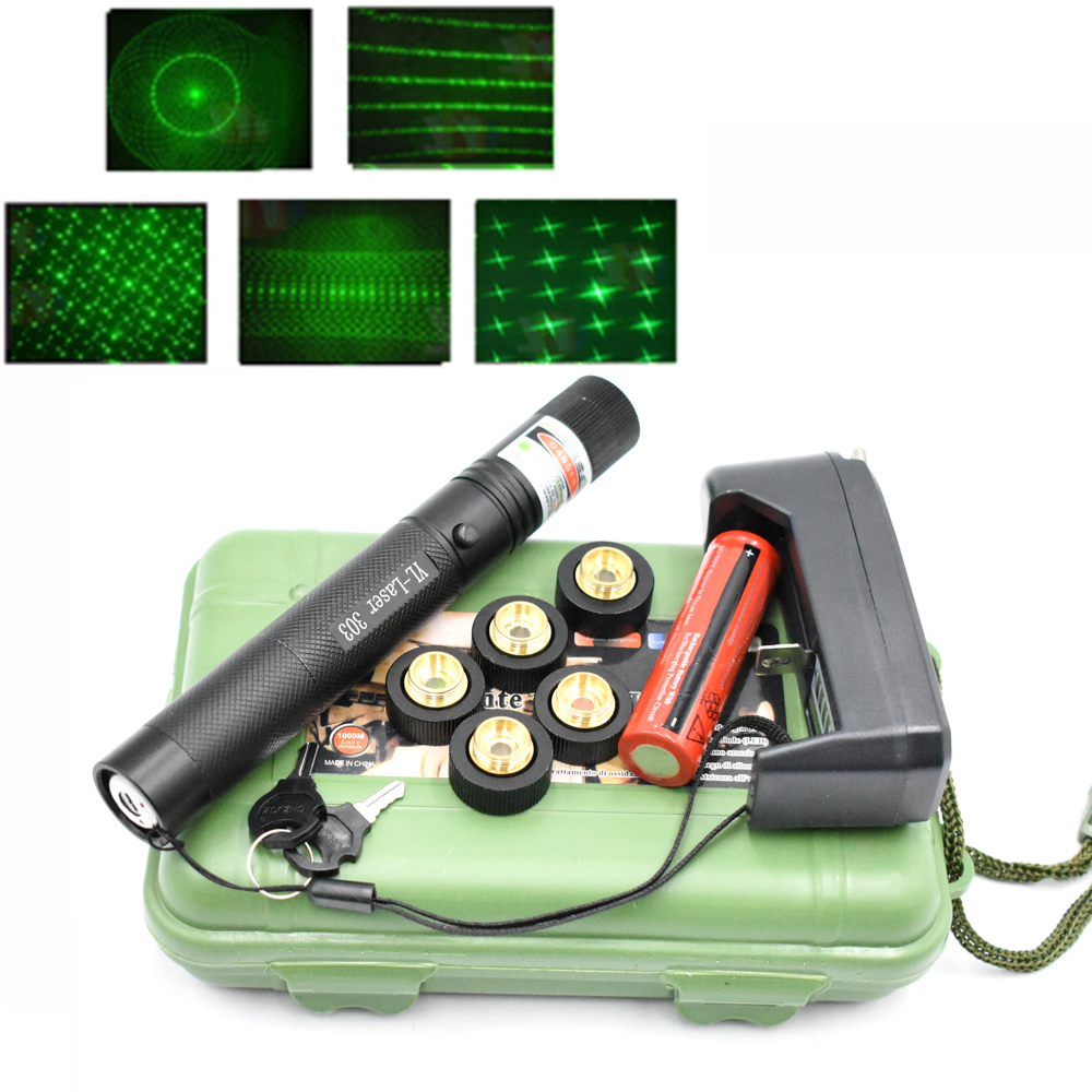 Laser 303 Pointer Green Laser Sight Laser 303 Pointer 10000m 532 nm Powerful device Adjustable Focus Lazer Laser 303 Star Caps Lasers     - title=
