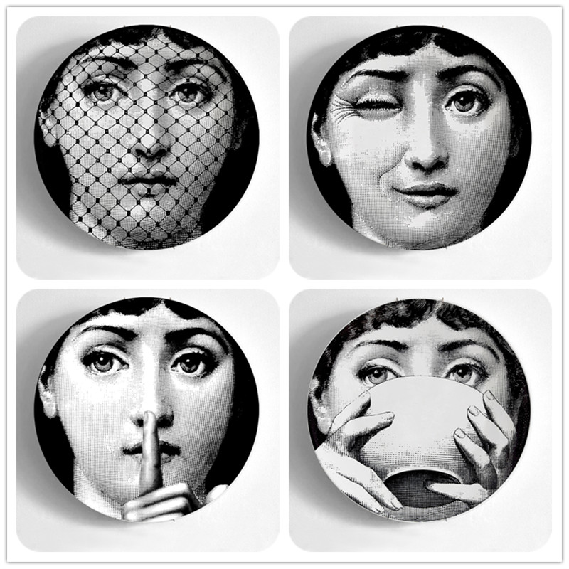 Fornasetti Plate 8 inches Wall Hanging Artist Plates Art Crafts Piero Fornasetti Decorative Plate Home Decoration
