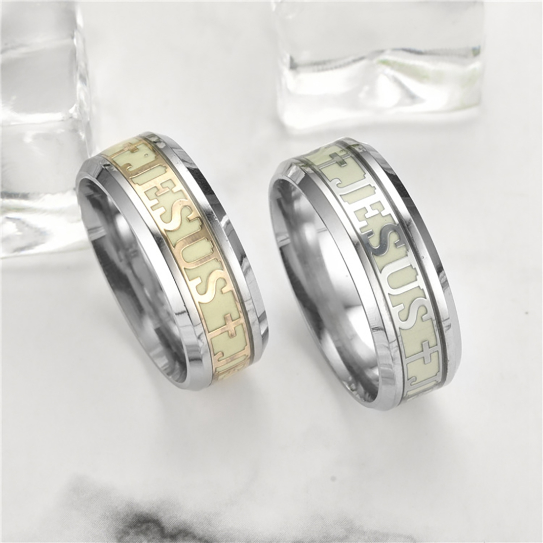 Luminous Jesus Christ Ring Stainless Steel Cross Ring Glowing In The Dark Jewelry For Women And Men Engagement Ring
