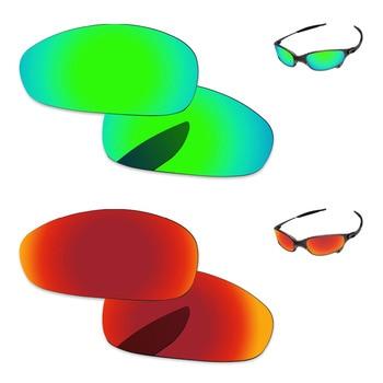 07cf55110 Fuego rojo y verde esmeralda 2 pares espejo polarizado lentes de recambio  para Juliet. gafas de sol marco 100% UVA y UVB protección