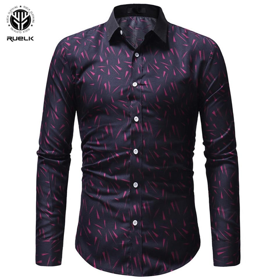 RUELK 2019 Fall/Winter New Print Series Men's Casual Slim Long Sleeve Print Shirt High Quality Soft Comfort Men Shirt