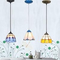 Blue Mediterranean Cord Pendant Lamp Colorful simplicity Fresh Handmade welding droplight iron pendant lighting glass shades