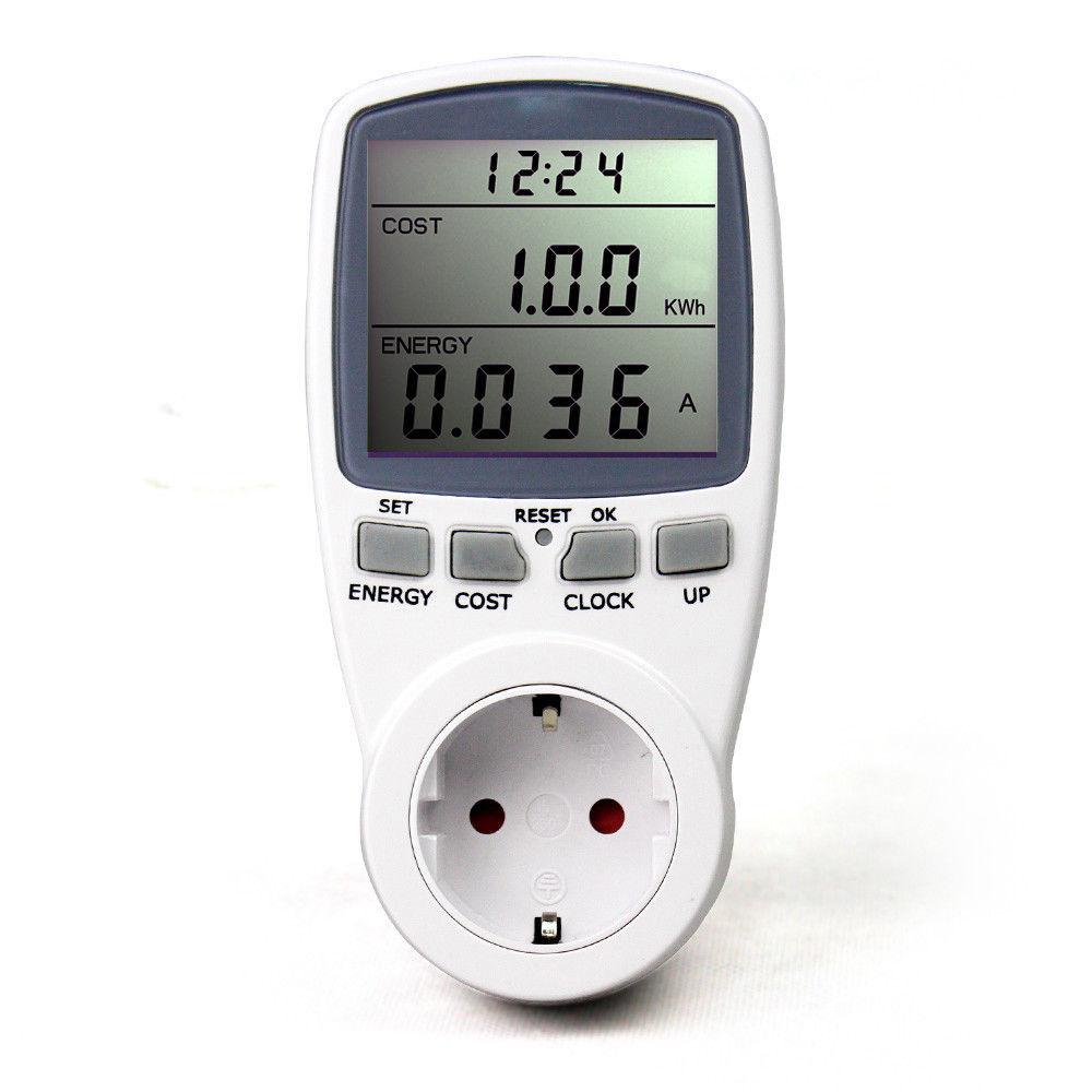 Baldr SingleTariff LCD EU Plug Socket Energy Meter Electricity Watt Voltage Amps Usage Frequency Monitor Analyzer Power Manage