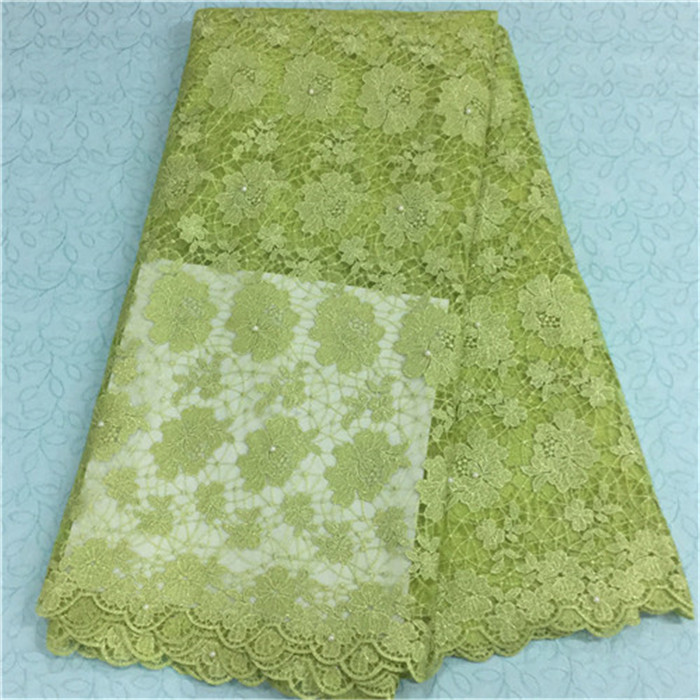 Elegant lemon green design african lace fabric with beads french net lace cloth for party dress BN12-3,5yards/pc