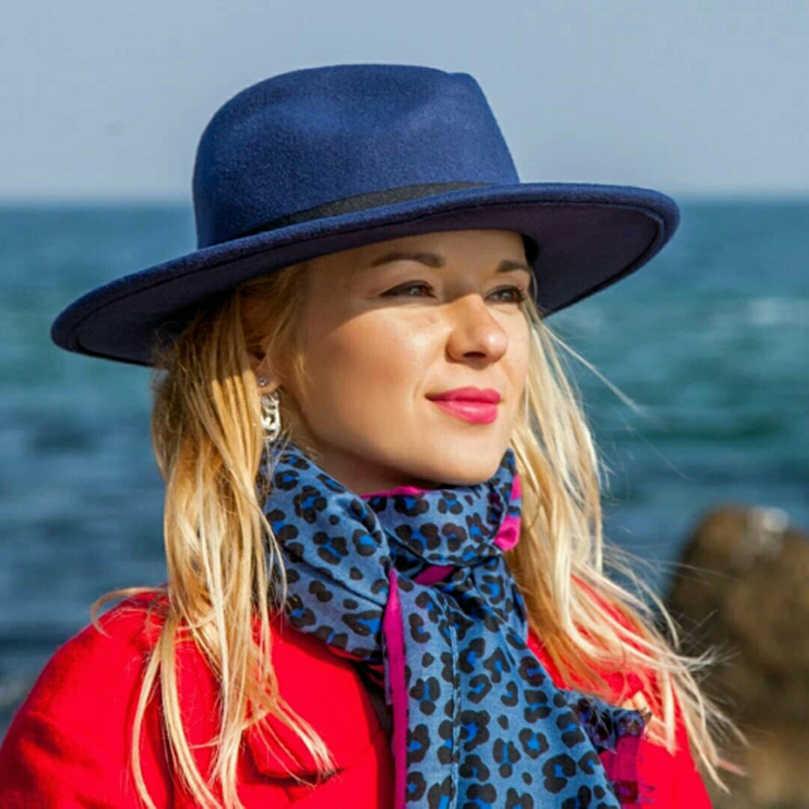 54de2786160dc6 ... AWAYTR Fashion Superstar Autumn Wide Brim Vintage Wool Felt Hats Women  Fedora Men Hat Jazz Hats ...